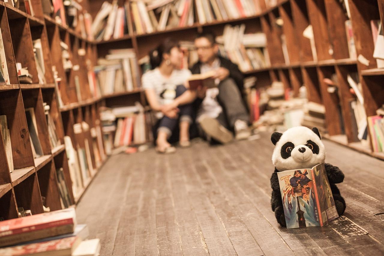 Une peluche de panda lit un livre dans une bibliothèque
