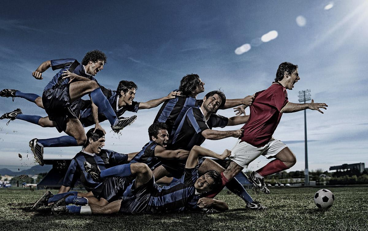 Un match de foot avec un joueur rouge impossible à stopper