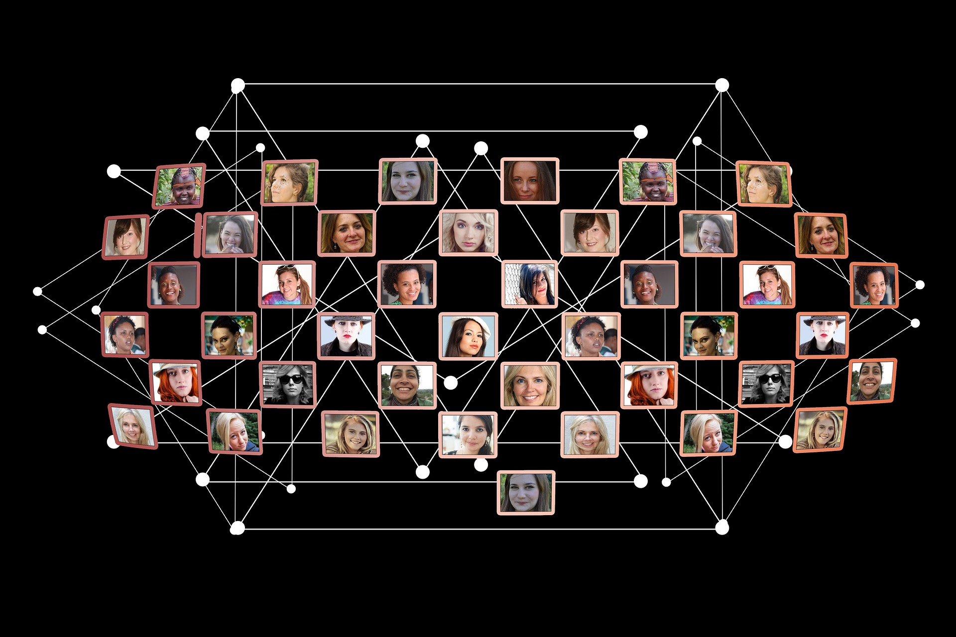 Connexion de visages sur fond noir